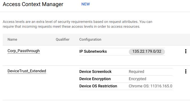 例のアクセスレベルのグリッドには、画面ロック、暗号化、OS の制限などの条件が付いた 2 つのアクセスレベルが示されています。