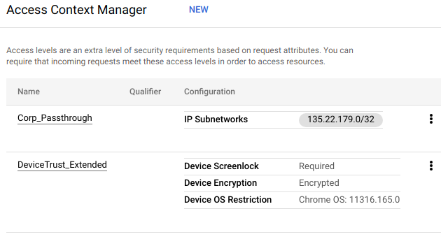 An example access levels grid shows two access levels with conditions such as screenlock, encryption, and OS restriction.