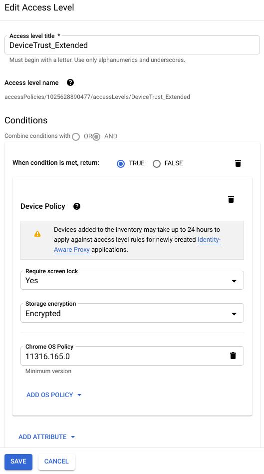 """Um exemplo de painel """"Editar nível de acesso"""" mostra condições como requisito de bloqueio de tela e criptografia de armazenamento."""