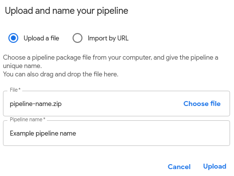 'Upload and name your pipeline' form