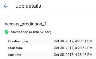 Información del estado del trabajo en la parte superior de la página Job details (Detalles del trabajo).