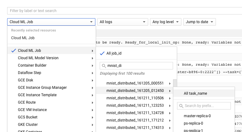 Alle Auswahlelemente für Logfilter maximiert.