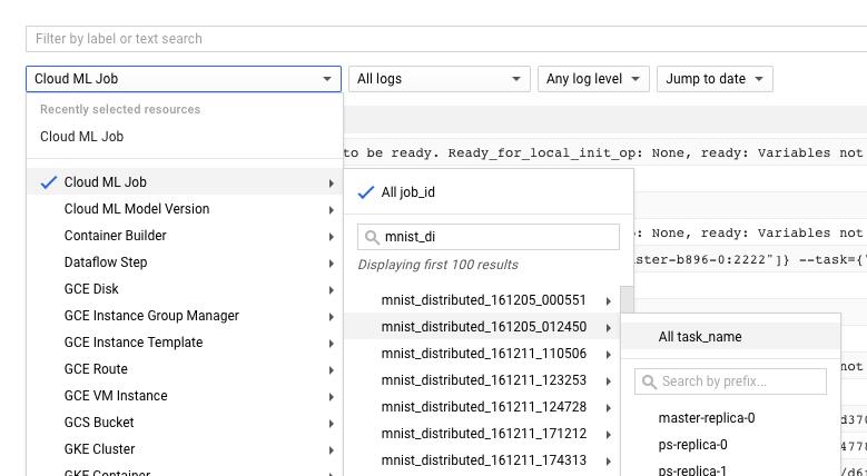 Todos os seletores de filtro de registro expandidos.