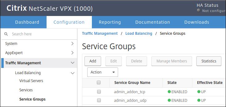 Citrix 사용자 인터페이스에서 서비스 그룹 추가 스크린샷(확대하려면 클릭)