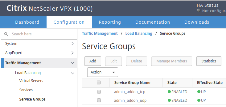 Screenshot of adding a service group in the Citrix user interface (click to enlarge)