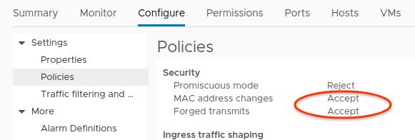 Captura de tela da permissão de alterações de endereço MAC e confirmações forjadas