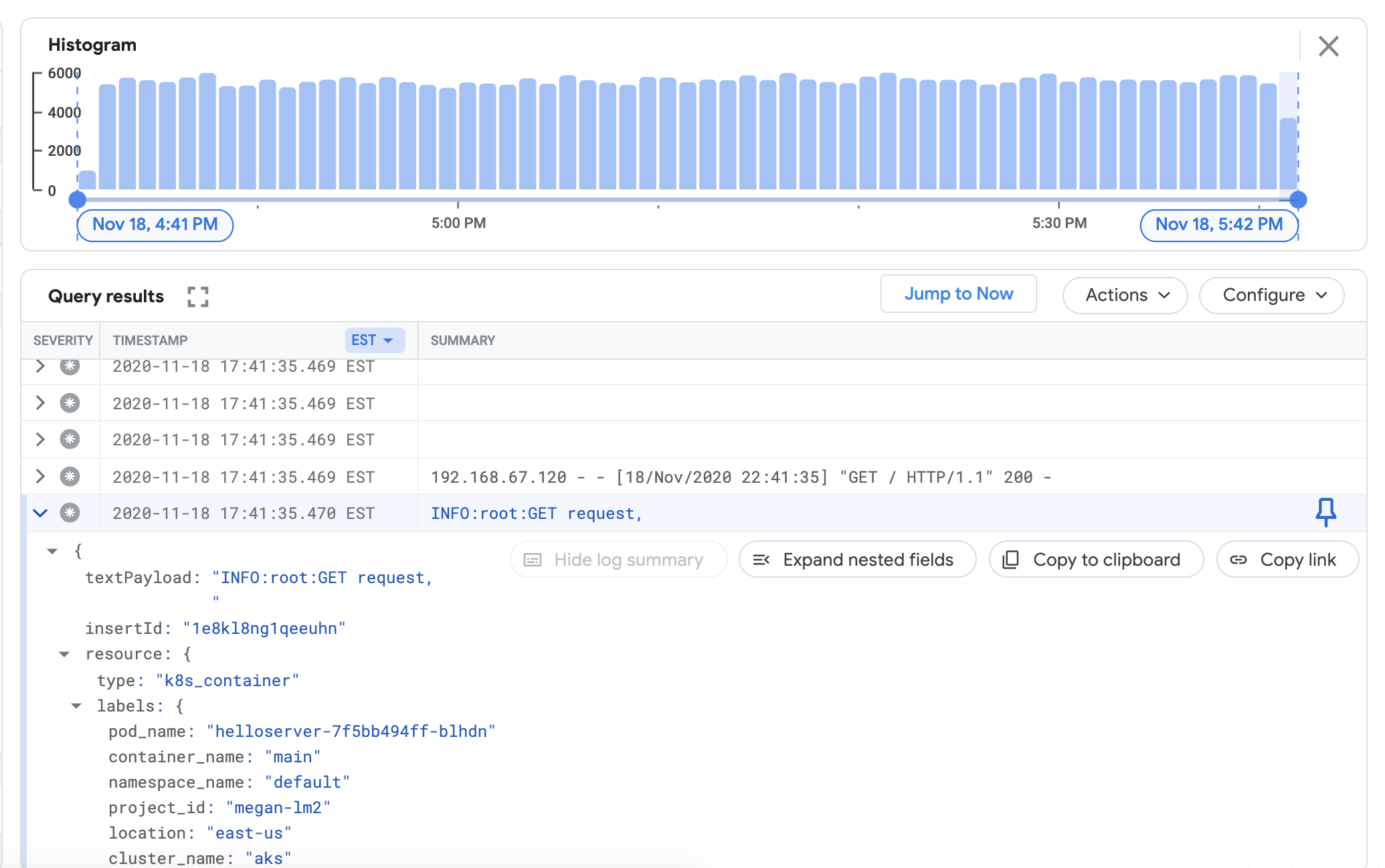 Cluster logs in Google Cloud's operations suite