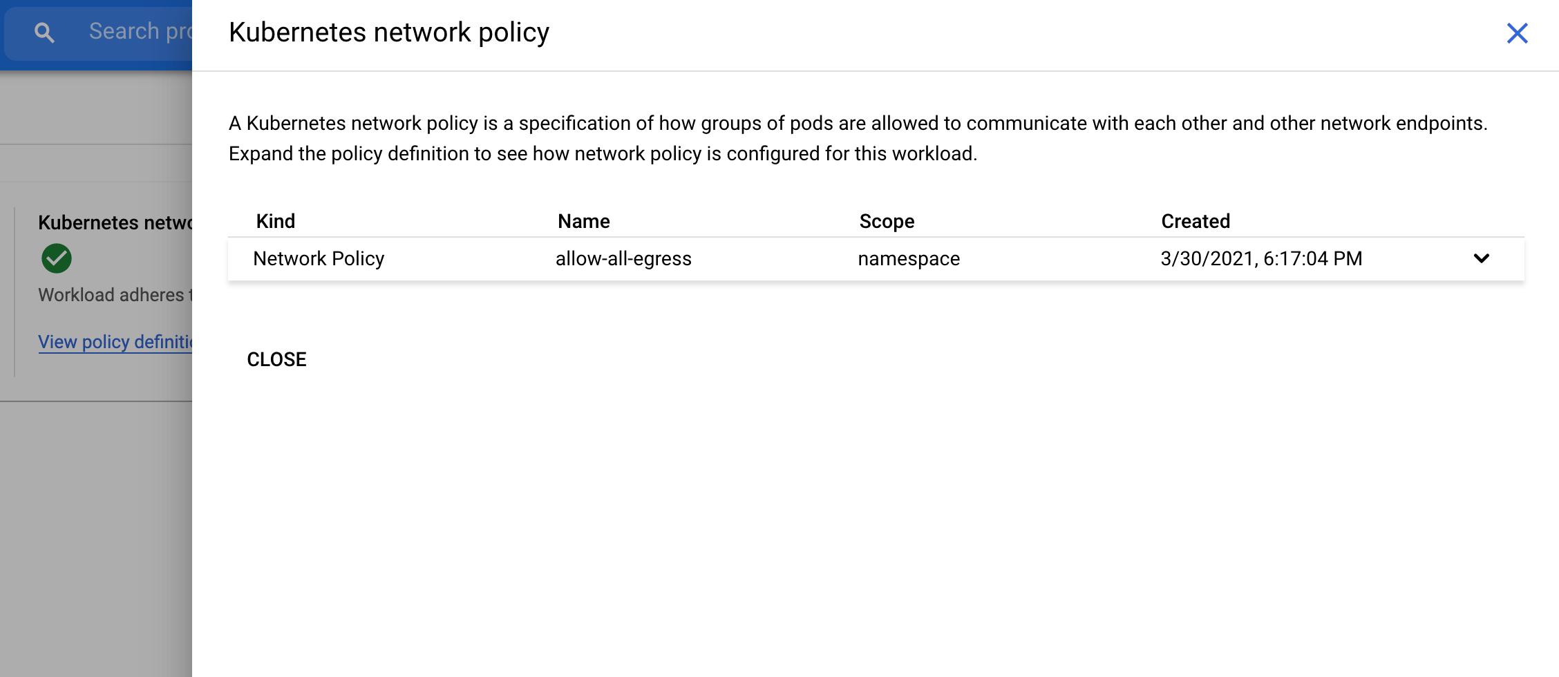 Capture d'écran du lien vers une règle de réseau