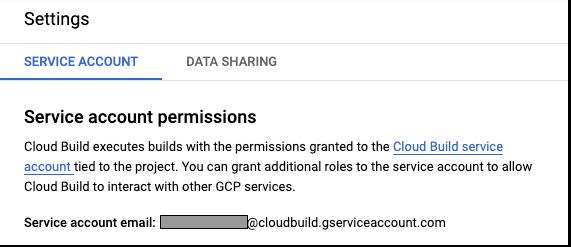 Cloud Build 設定ページのスクリーンショット