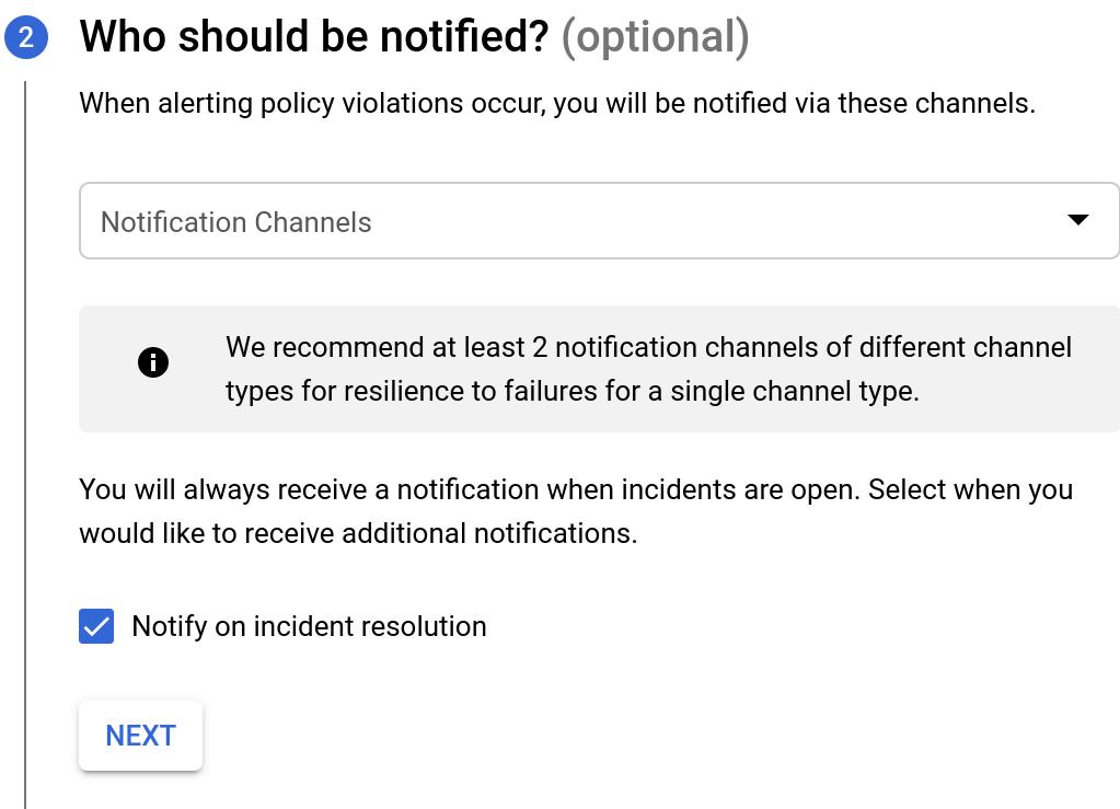 Opciones de notificación