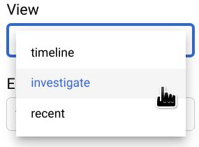"""Selecione a visualização """"Investigar""""."""