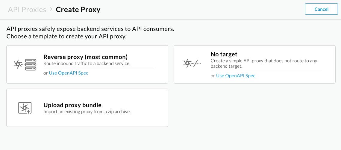 API proxy pane with Reverse proxy selected