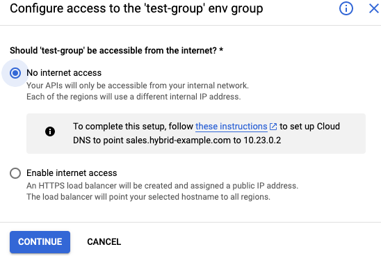 Configura el acceso sin acceso externo