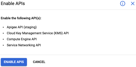 Enable APIs pane of the Apigee provisioning wizard