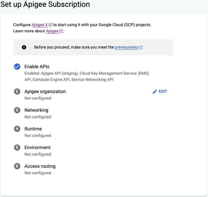 Configurer l'abonnement Apigee> organisation Apigee prête