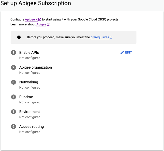 Set up Apigee subscription page of the Apigee provisioning wizard