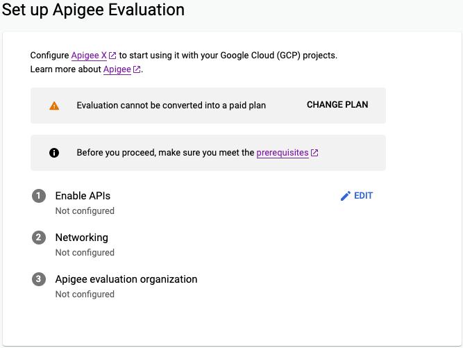 Página Configuración de evaluación de Apigee del asistente de aprovisionamiento de Apigee