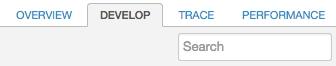 The Develop tab is between the Overview and Trace tabs.