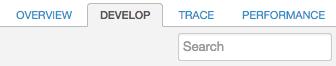 """A guia """"Desenvolvedor"""" está entre as guias """"Visão geral"""" e """"Trace""""."""