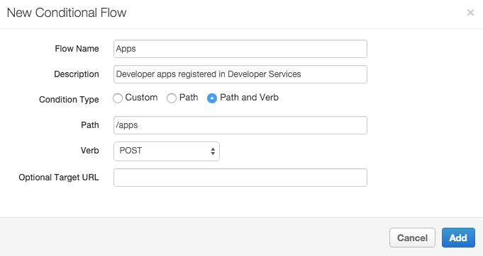 """In the New Conditional Flow pane, a flow named Apps is configured with the     description """"Developer apps registered in Developer Services."""""""