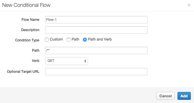 En el nuevo panel de flujo condicional, el flujo se llama Flow-1 y están configurados el tipo de condición, la ruta y el verbo.