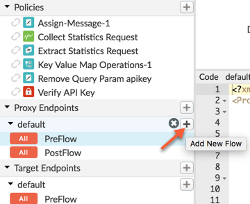When you hold the pointer over the plus sign next to default, the hover text says Add     New Flow.