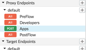 The new flows for Apps and Developers are shown in the Navigator pane under Proxy     Endpoints.