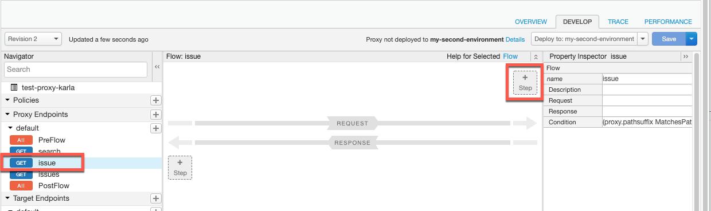 En el menú Navegación, se destacó un flujo condicional de ejemplo llamado problema y, en el panel Flujo, se muestra el botón Paso.