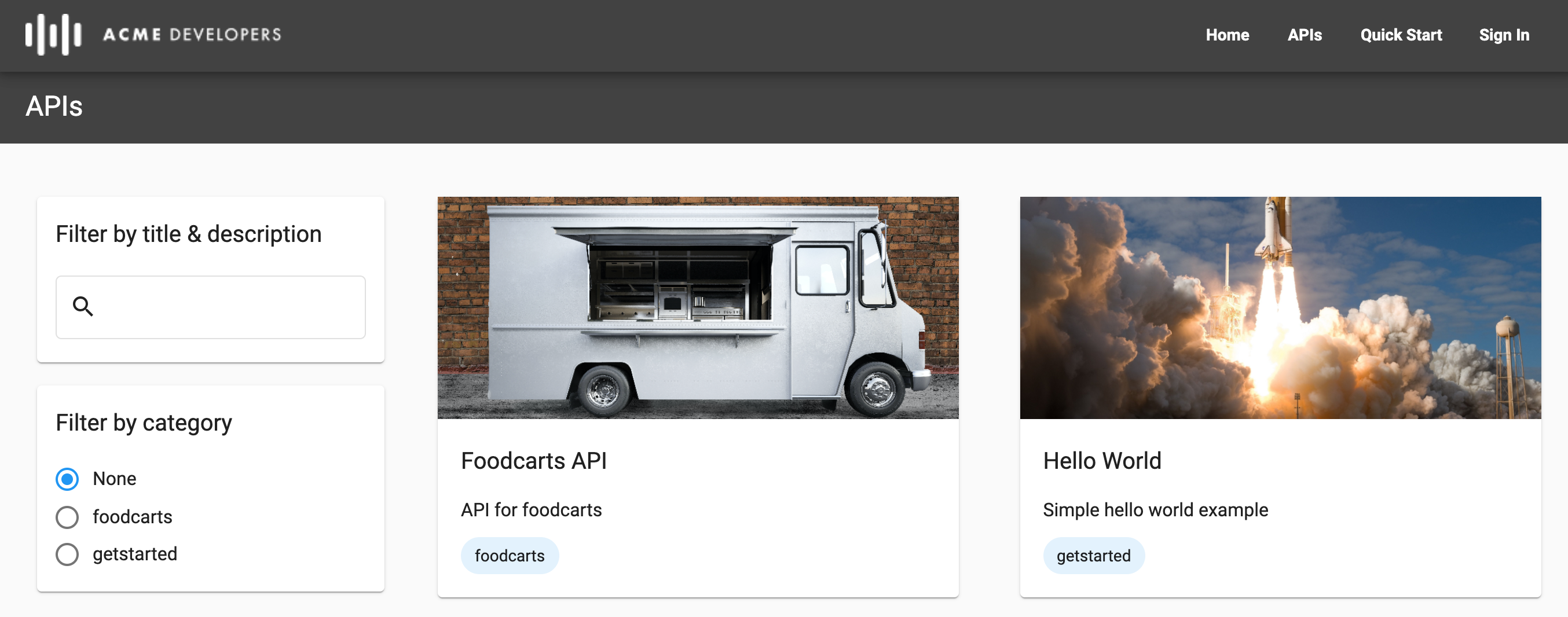 Página de las API
