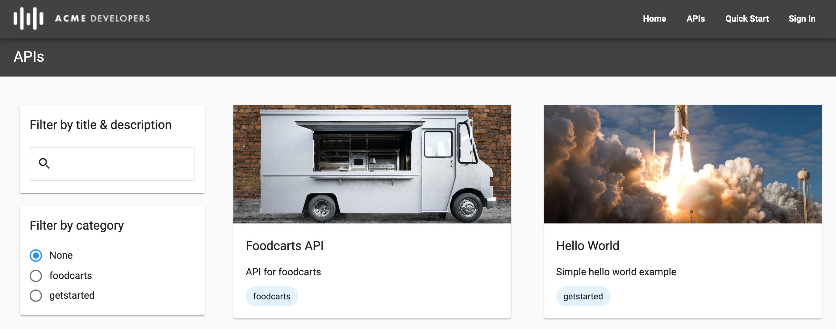 Página de APIs no portal ativo mostrando duas categorias e o uso das imagens