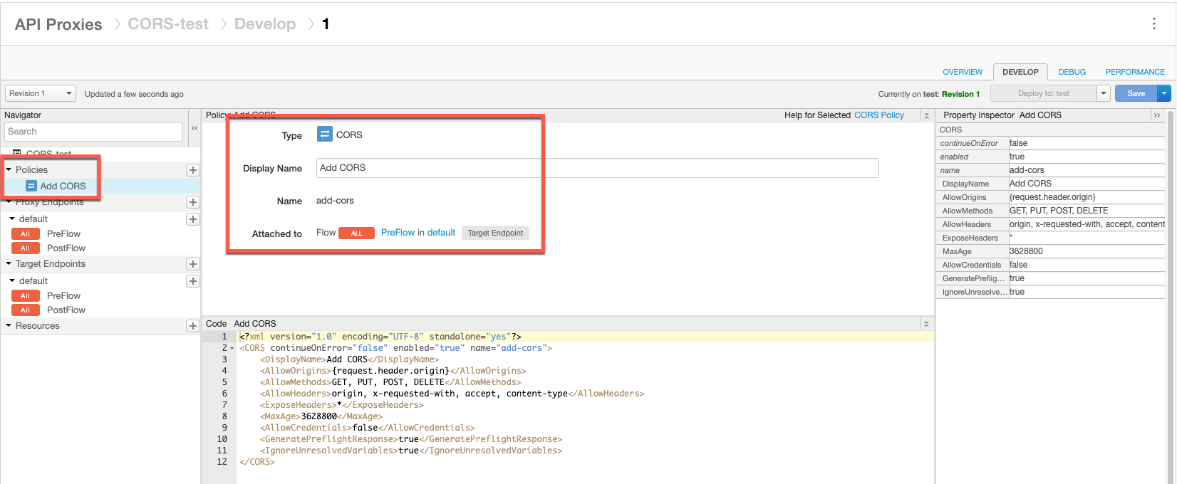 """Política """"Adicionar CORS"""" adicionada ao navegador em """"Políticas"""" e anexada ao pré-fluxo de resposta do TargetEndpoint à direita"""