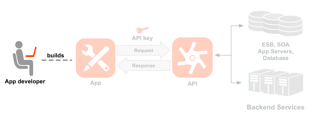 A left-to-right sequence diagram showing a developer, an app, APIs,     and backend services. The developer icon is highlighted. A dotted line points from the     highlighted developer to an icon of an app the developer has built. Arrows from and     back to the app show the request and response flow to an API icon, with an app key positioned     above the request. Below the API icon are two sets     of resource paths grouped into two API products: Location product and Media product.     The Location product has resources for /countries, /cities, and /languages, and the Media     product has resources for /books, /magazines, and /movies. To the right of the API are the     backend resources the API is calling, including a database, an enterprise service bus, app     servers, and a generic backend.