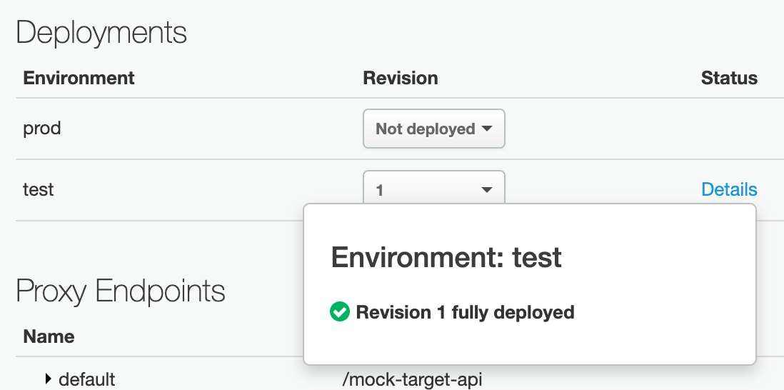 Deployments section of the API proxy details page showing successful deployment for Revision 1 in the test environment