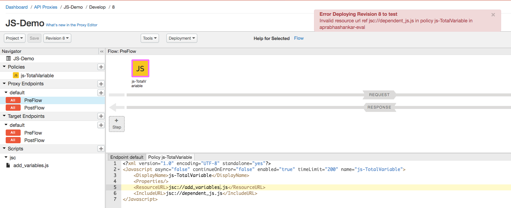 Erreur d'URL de ressource non valide