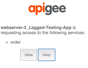 Consent page where sample app is requesting to Order with Allow and Deny buttons.