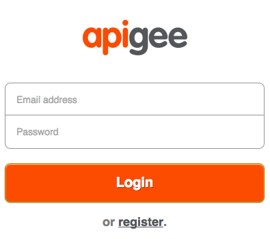 Página de acceso de Apigee con campos de dirección de correo electrónico y contraseña.