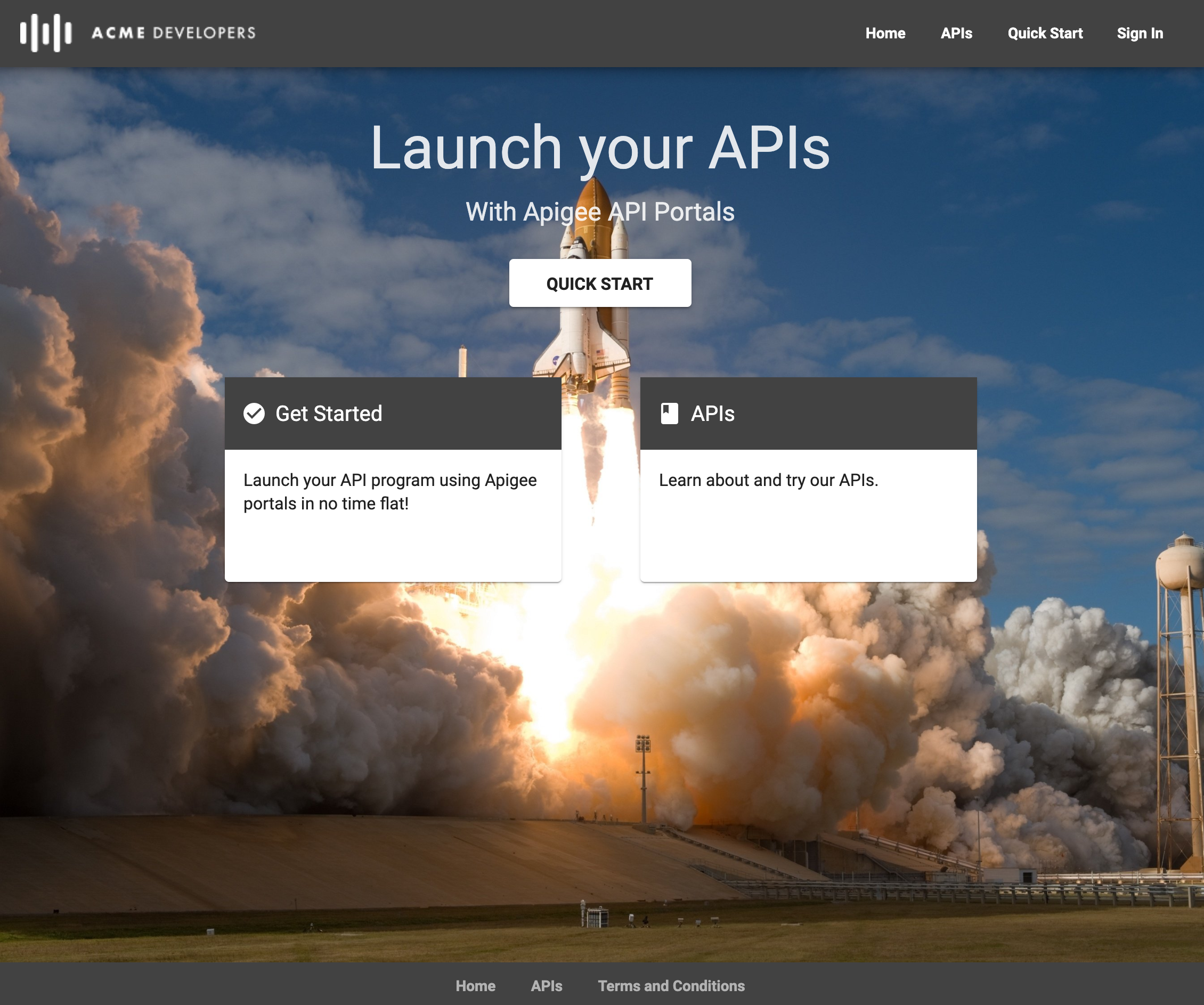 The default integrated portal page with links labeled Quick start, get started, and APIs.