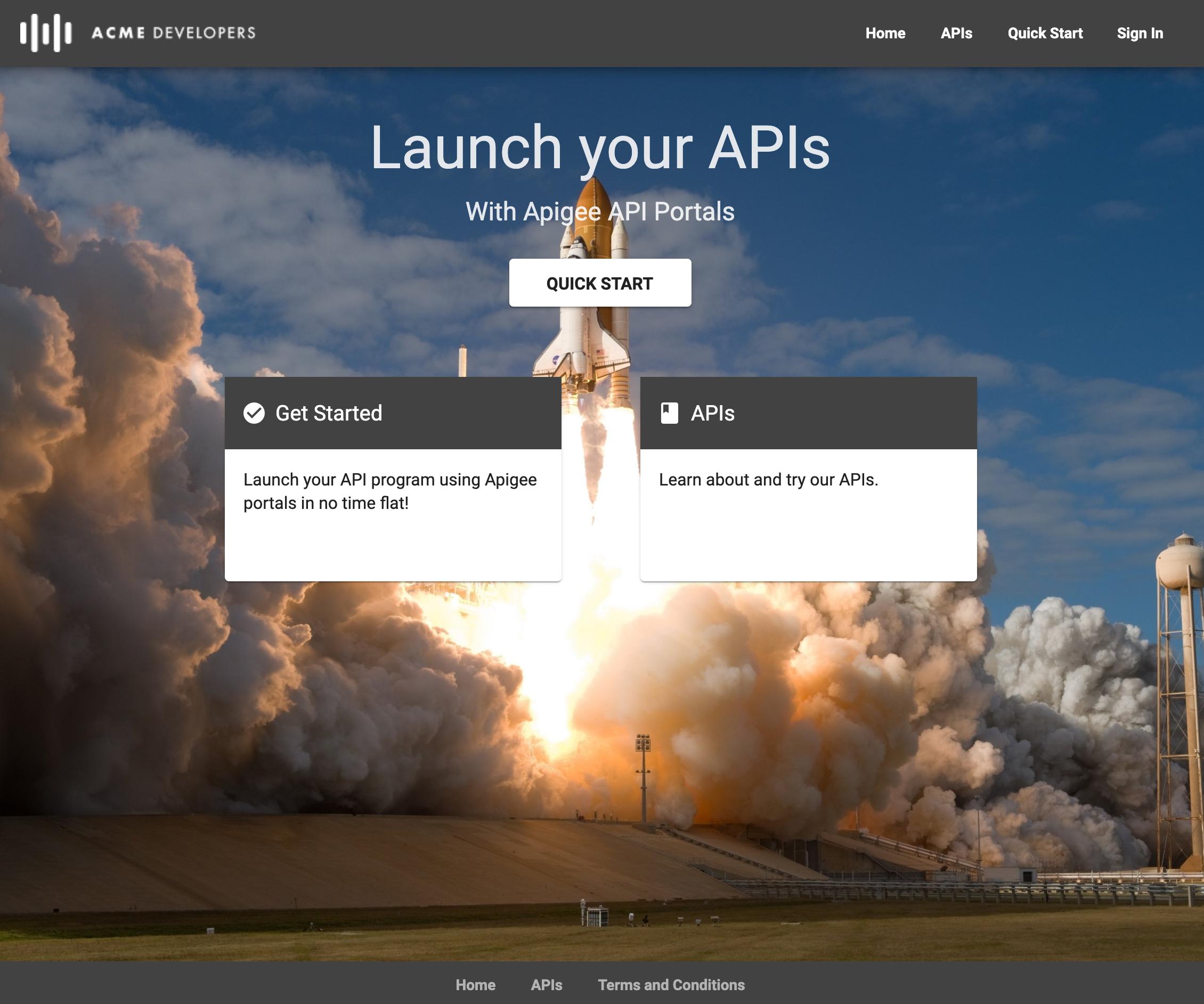 La página predeterminada del portal integrada en vínculos etiquetados como inicio rápido, comienza ahora y las API.