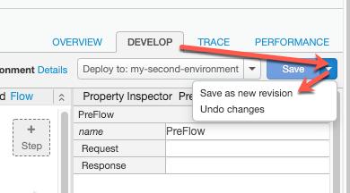 """Guia """"Develop"""", menu """"Save"""" expandido, """"Save as new revision"""" em destaque"""