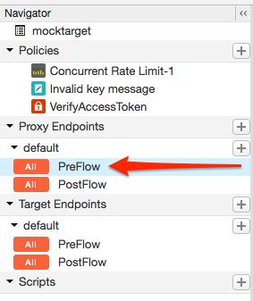 Selecciona PreFlow para un extremo que se encuentra en Proxy Endpoints.