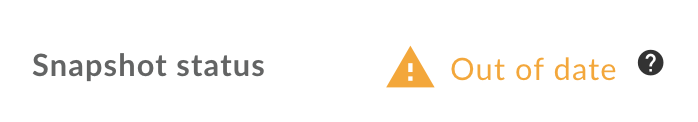 Ícone e mensagem indicando snapshot desatualizado