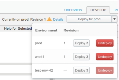 Deployment drop-down enabling you to deploy or undeploy the current revision to each environment