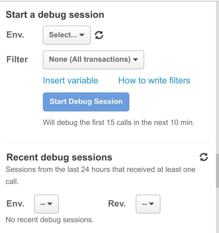 Start a debug session pane