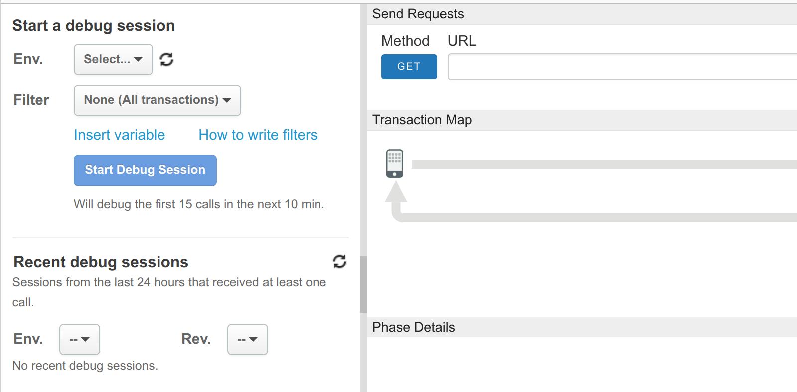 """包含""""启动跟踪""""会话、""""最新跟踪""""会话和""""发送请求""""窗格的 Trace 视图"""