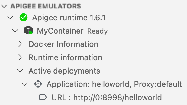 Apigee Emulator showing deployed helloworld application and active test resources