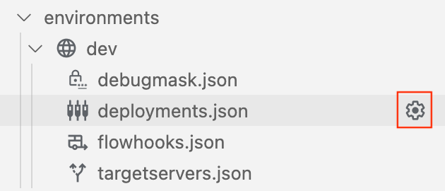 settings icon displays when you position the cursor over deployments.json folder
