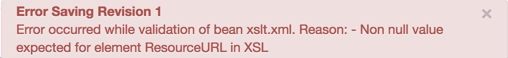 Valeur non nulle attendue pour l'élément ResourceURL dans XSL.