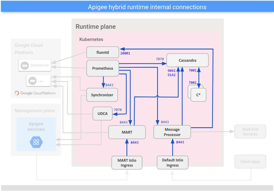 Muestra conexiones entre componentes internos en el plano del entorno de ejecución híbrido.