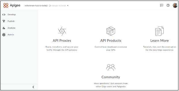Apigee ハイブリッド UI のランディング ページ。左側のナビゲーション、リンク、画像から構成されています。