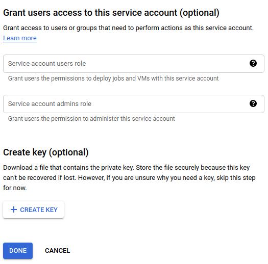 サービス アカウント ユーザーのロールとサービス アカウント管理者のロールのフィールド、キーの作成ボタン